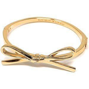 Kate Spade Skinny Mini Bow Gold Bangle Bracelet .